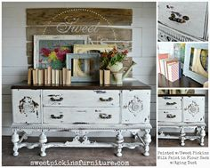 Sweet Pickins Milk Paint in Flour Sack is our brightest white. Sweet Pickins Milk Paint is a t… Farmhouse Style Decorating, Farmhouse Decor, 9 Drawer Dresser, Dressers, French Dresser, Makeover Before And After, Painted Furniture, Refinished Furniture, Repurposed Furniture