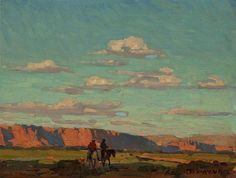Riders Under Scattered Clouds By Edgar Payne . Truly Art Offers Giclee Unframed Prints on Paper, Canvas Art, and Framed Art in all our Collections. Edgar Payne, Maynard Dixon, Cloud Drawing, Landscape Artwork, Southwest Art, Traditional Paintings, Impressionist, Art Inspo, Canvas Art