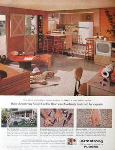 Items similar to 1959 Armstrong Vinyl Floor Ad - Country Kitchen Design, Family Room Decor - Dutch Door on Etsy 1950s Interior, Interior Design, Interior Ideas, Fixer Upper, Pantone, Armstrong Vinyl Flooring, 1950s Home Decor, Country Kitchen Designs, Orange Walls