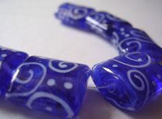 Handmade Glass Blue Pink Purple Lampwork Beads Ericabeads Serena's Blend Nuggets (6)