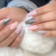 32 Eye-Catching Nail Design Ideas Perfect For Four Season - 32 Eye Ca. - 32 Eye-Catching Nail Design Ideas Perfect For Four Season – 32 Eye Catching Nail Desig - Cute Acrylic Nails, Matte Nails, Acrylic Nail Designs, Fun Nails, Nail Art Designs, Nails Design, Gray Nails, Perfect Nails, Gorgeous Nails