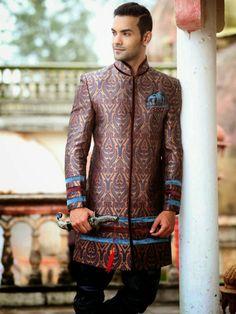 #aryansherwani #sherwani #wedding #groom  #bluesherwani Brocade Silk Jacket  with Breeches