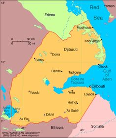 None Republic of Djibouti  President: Ismail Omar Guelleh (1999)  Prime Minister: Abdoulkader Kamil Mohamed (2013)  Land area: 8,486 sq mi (21,979 sq km); total area: 8,880 sq mi (23,000 sq km)  Population (2014 est.): 810,179 (growth rate: 2.23%); birth rate: 24.08/1000; infant mortality rate: 50.2/1000; life expectancy: 62.4  Capital (2011 est.): Djibouti, 496,000  Monetary unit: Djibouti franc