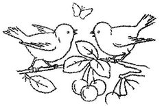 https://flic.kr/p/6uyJFV | Cleaned up - Birds and Cherries | This is a cleaned up version of a vintage transfer I uploaded awhile back. It is from a French newspaper, but I am not sure of the year. I think the 1930's based on the illustration style.