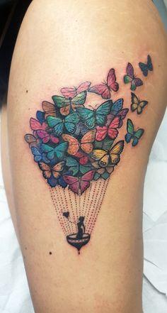 (notitle) – Tats and piercings – (nota) – Tatuagens e piercings – Girl Thigh Tattoos, Leg Tattoos, Body Art Tattoos, Tatoo Travel, Cover Up Tattoos For Women, Colorful Butterfly Tattoo, Upper Back Tattoos, Sweet Tattoos, Air Balloon Tattoo