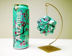 Metal Origami Ball - AriZona Green Tea with Honey - Upcycled Recycled Repurposed - Decoration, Yoga, Office, Gift, Decoration