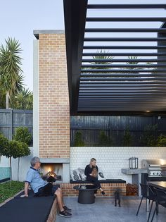12 Pergola Patio Ideas that are perfect for garden lovers! Outdoor Decor, Alfresco Area, Outdoor Rooms, House Exterior, Outdoor Fireplace, Outdoor Design, Outdoor Kitchen
