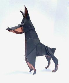 Doberman pinscher origami #origami #dog #pinscher #doberman