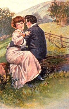 Victorian painting sappy vintage antique romantic art lovers vintage cards of romantic couples sciox Gallery