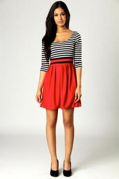 $32 Striped 3/4 sleeve dress in red. Grey, Coral, and Green too (20 GDP) UK site