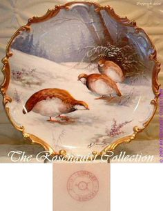 Painted Limoges Quail Plaque or Charger, Early 20th Century / Signed by the inimitable listed French artist ALFRED BRONSSILLON (also spelled BROUSSILLON in certain Limoges reference books) 2100