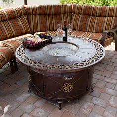 Outdoor Aluminum Propane Fire Pit Table With Scroll Design Fire Pit Propane Fire Pit Table Fire Pit Table