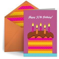 Milestone Birthday Cake Digital Greeting Card