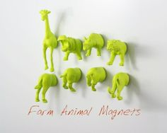DIY Animal Magnets ♥  1. Spray paint  2. Cut in half  3. and attach craft magnets to the back! Click here for more DIY inspiration!