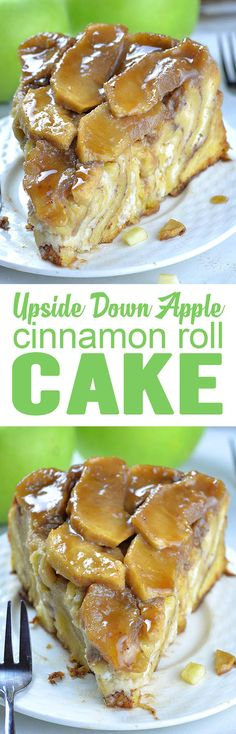 Upside Down Apple Cinnamon Roll Cake Upside Down Apple Cinnamon Roll Cake is like giant cinnamon roll, only better having cream cheese filling and ooey-gooey homemade caramel sauce and fresh apples on top. Serve it up for breakfast or brunch, or simply as Just Desserts, Delicious Desserts, Dessert Recipes, Yummy Food, Cinnamon Apples, Cinnamon Rolls, Cinnamon Desserts, Apple Desserts, Caramel Apples