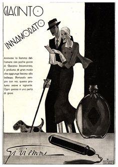 PUBBLICITA'1931 GI.VI.EMME GIACINTO INNAMORATO PROFUMO MODA CANE TERRIER R.BALZA