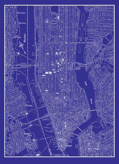 Manhattan map original artwork new york blueprint wall art new york city map 1944 new york city manhattan street map vintage blueprint print poster malvernweather Images
