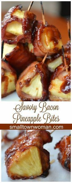 These Savory Bacon Pineapple Bites are so easy and so divine. These Savory Bacon Pineapple Bites are so easy and so divine. Finger Food Appetizers, Yummy Appetizers, Appetizers For Party, Appetizer Recipes, Finger Food Recipes, Bacon Wrapped Appetizers, Avacado Appetizers, Prociutto Appetizers, Canapes