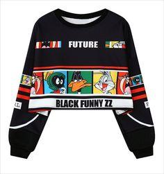 Letters Crop Top Punk Sweatshirt Hoodie