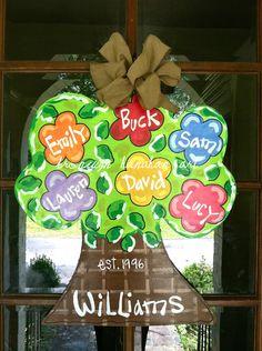 Family Tree Door Hanger - Bronwyn Hanahan Original via Etsy Painted Doors, Painted Signs, Hand Painted, Wooden Door Hangers, Wooden Doors, Wooden Art, Wooden Signs, Burlap Crafts, Wood Crafts