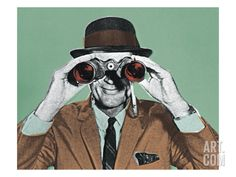 Man Looking Through Binoculars Art Print by Pop Ink - CSA Images at Art.com