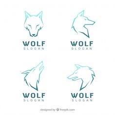 Various modern logos of wolves Free Vector Pet Logo, Geometric Wolf Tattoo, Geometric Logo, Tier Wolf, Zoo Map, Wolf Poster, Celtic Tribal, Tribal Animals, Wolf Illustration