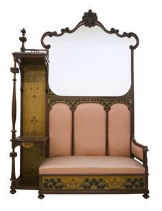 Gaspar Homar | Sofa-bench. Mahogany with marquetry in lemon, ash and walnut wood, carving, bas-relief carving, gilding, bevelled mirror and upholstery. Between 1900-1916.