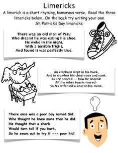 Limericks are a fun way to practice writing poetry while celebrating St. My students loved coming up with Limericks for weeks after. Teaching Poetry, Teaching Writing, Student Teaching, Teaching Tools, Teaching Ideas, Poetry Unit, Writing Poetry, Writing Classes, Writing Practice