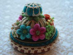 Felt and vintage doily flower pincushion. $55