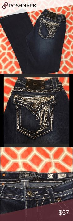 Miss Me jeans Great jeans in a darker indigo color. Only worn a couple of times. Give your casual wardrobe a dressier look. Miss Me Jeans Boot Cut