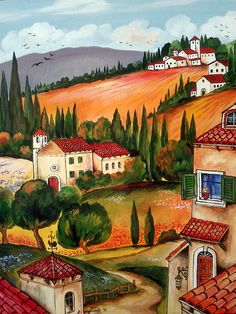 Roberto Gagliardi - Art (Page of Fantasy Landscape, Landscape Art, Landscape Paintings, Pictures To Paint, Art Pictures, Italian Artist, Naive Art, Beautiful Paintings, House Painting