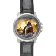 Cool Cool Jaws Shark Thanksgiving Day Gift Black Leather Alloy High-grade Watch * Additional details found at the image link : Travel Gadgets Travel Gadgets, Camping And Hiking, Shark, Travelling, Image Link, Black Leather, Thanksgiving, Cool Stuff, Watch