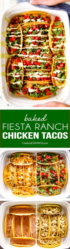 EASY Baked Fiesta Ranch Chicken Tacos with Tomatillo Avocado Ranch - this is my FAVORITE easy family dinner!  the flavors and textures are dynamite!