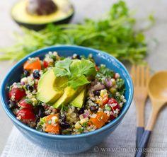 Vegan Burrito Bowl #quinoa #avocado #vegetables #glutenfree #lactosefree #vegan #vegetarian #healthy #recipe