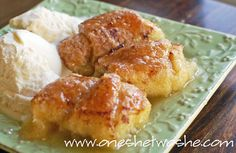 Easy Apple Dumplings. Wrap Granny Smith Apple slices in crescent rolls. Pour mixture of melted butter, sugar, cinnamon, vanilla & Mountain Dew (what!?) over the top & bake. Serve w/vanilla ice cream.