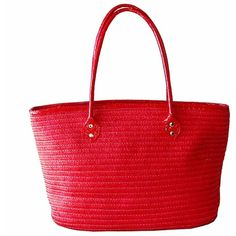 Red Long Handle Straw Beach Tote Bag ($25) ❤ liked on Polyvore featuring bags, handbags, tote bags, red, fashion bags, totes, handbag tote, straw beach tote, hand bags and straw handbags