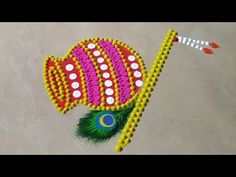 Janmashtami special rangoli using spoon and plate Hello Friends, Let us make monday to sunday rangoli design. Rangoli Designs Peacock, Rangoli Designs Images, Rangoli Designs With Dots, Rangoli Designs Diwali, Beautiful Rangoli Designs, Diwali Rangoli, Diwali Special Rangoli Design, Free Hand Rangoli Design, Small Rangoli Design