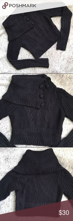 Crop Top Sweater Thick knit crop top sweater from H&M.  Buttons at the neck.  Very cute on! In excellent condition apart from a small hole on the left side(see last pic) it's on the seam so it's a very easy fix. H&M Sweaters