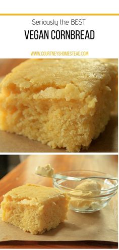 This easy, vegan, delicious cornbread recipe is perfect for an addition to your dinner or by itself. This vegan cornbread is always a crowd pleaser for potlucks. dinner recipes The BEST Vegan Cornbread Vegan Dinner Recipes, Vegan Recipes Easy, Vegan Desserts, Easy Vegan Snack, Yummy Vegan Food, Vegan Potluck, Easy Vegan Dinner, Healthy Food, Whole Foods