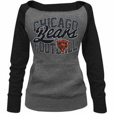Chicago Bears Ladies Formation Boatneck Tri-Blend Sweatshirt - Charcoal/Navy Blue