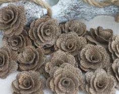 Add burlap roses in bouquet
