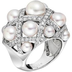 CHANEL 'Matelasse' Cultured Pearl & Diamond Ring | 1stdibs.com featuring polyvore, women's fashion, jewelry, rings, accessories, chanel, bague, chanel rings, chanel jewellery, diamond rings and diamond jewelry