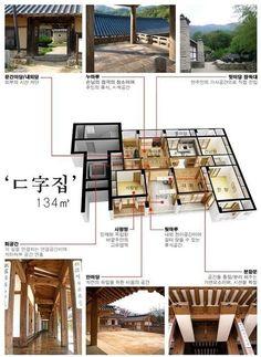 현대식한옥(개량한옥) 의 인테리어 입니다.    밑으로는 목포에 위치한 한옥아파트 자료 입니다.          사진을 보면 문틀, 문, 창호, 조명, 몰딩 등 딱딱한 아파트의 기존 이미지가 아닌 문고리, 경첩, 전등 갓 등으로 표현하여 한옥의 고풍스러운 느낌을 잘 살린 한옥식 아파트 입니다. Chinese Courtyard, Zen House, Interior Design Courses, L5r, Japanese House, House In The Woods, House Floor Plans, Courtyard House, Traditional House