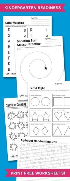 Kindergarden Readiness - FIVE free Worksheets to print and practice at home #kindergarten #school #worksheets #printables