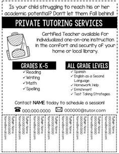 Tutor Flyer-Editable Tutoring Flyer, Tutoring Business, Reading Tutoring, Online Tutoring, Music Flyer, Radio Flyer, Math Tutor, Kindergarten Math Worksheets, Pf Flyers