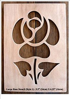"Beautiful Large Sized Hand Crafted MDF 'Flower' Drawing Template / Stencil - 10.5"" X 6"""