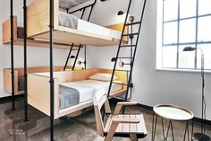 Swedish and minimalist inspired design, the Hollander just opened in Wicker Park with one motto: To share experiences and bring people who love food, design, and arts and culture together. Multiple accommodations with bunks beds and kid-friendly suites. Oak Bunk Beds, Bunk Bed Rooms, Built In Bunks, Dormitory, Suites, Small Rooms, Interiores Design, Villa, House