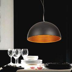 60W Natur inspirert Modern Anheng med svart halvkuleformet Metal Shade – NOK kr. 1.092