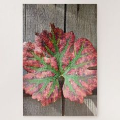Grape Leaf On A Rustic Wood Door Jigsaw Puzzle - rustic gifts ideas customize personalize