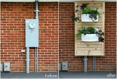 slatted panel with planters hide electric meter. Make the panel full length and consider planter at bottom for climbing flowers or several planters